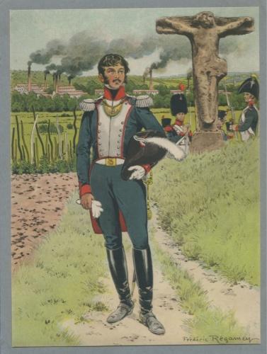 Гравюра «Гренадер вуниформе - Фредерик Регамей» (1849-1925 гг.) (Франция)