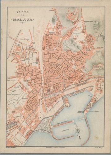 Литография «План города Малага» 1910 года (Испания)