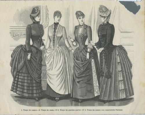 Гравюра «Французская мода середины XIX века: костюм для путешествий, домашний, для сада/парка, для прогулок» (Франция)