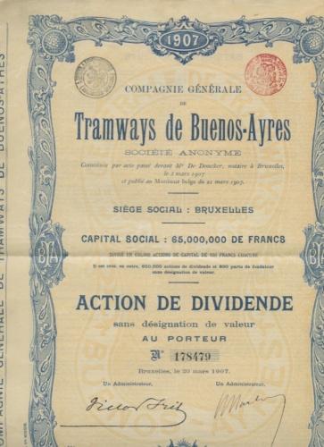 65 миллионов франков, акция «Tramways deBuenos-Ayres» (Аргентина) 1907 года (Бельгия)