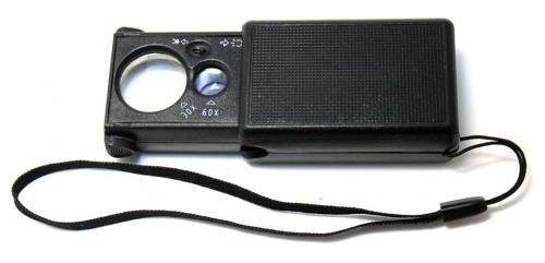 Лупа сподсветкой (30×21 мм, 60×12 мм)