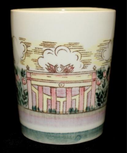 Стакан «Виды павильонов ВСХВ ВДНХ» (керамика, клеймо «ЗиК», редкий, 8,5 см) (СССР)