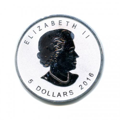 5 долларов — Кленовый лист 2016 года (Канада)