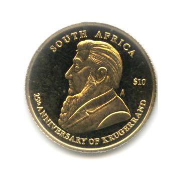 10 долларов - 25-летие крюгерранда, Республика Либерия 2005 года (ЮАР)