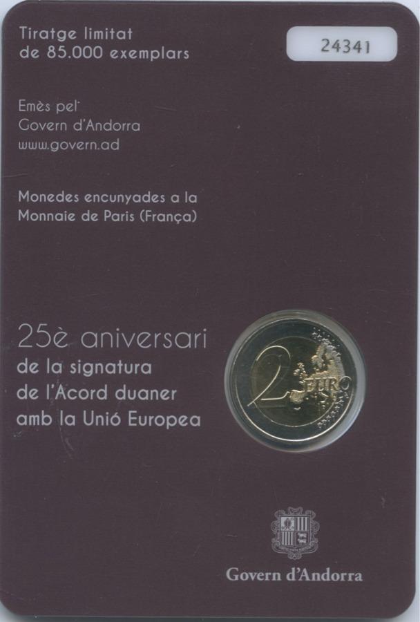 2 евро - 25-летие подписания таможенного соглашения сЕС (Андорра, вблистере) 2015 года