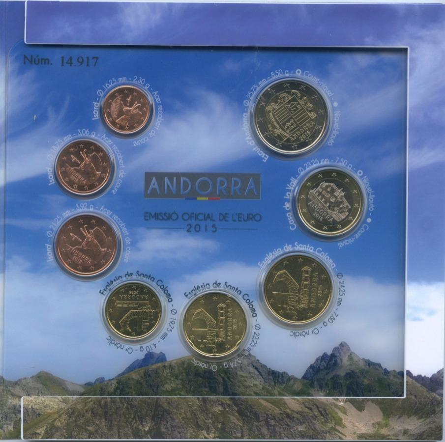 Набор монет (Андорра, вальбоме намагните) 2015 года