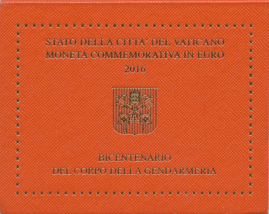 2 евро - 200-летие папской жандармерии (вальбоме) 2016 года (Ватикан)