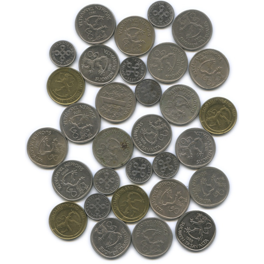 Набор монет 1 марка (разные года), 31 шт. (Финляндия)