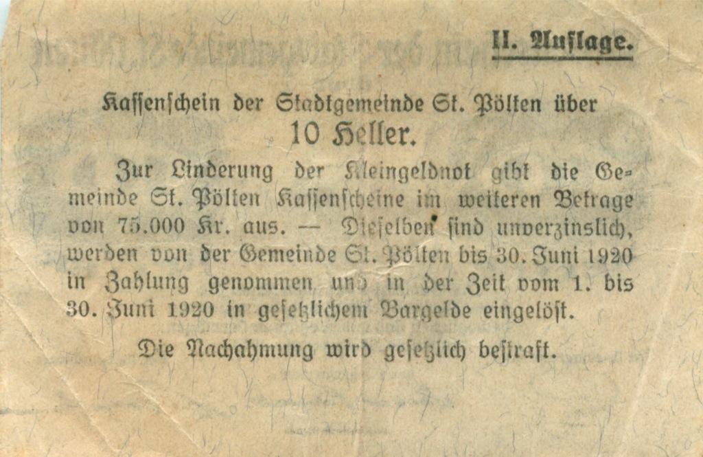 10 геллеров (нотгельд) 1919 года (Австрия)