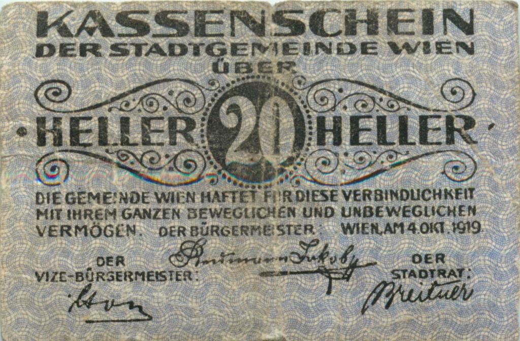20 геллеров (нотгельд) 1919 года (Австрия)