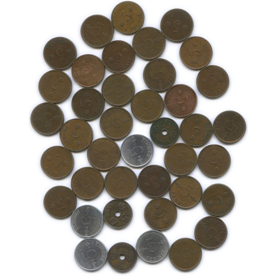 Набор монет 5 пенни (разные года, 40 шт.) (Финляндия)