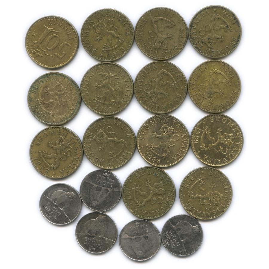 Набор монет 50 пенни (разные года), 19 шт (Финляндия)