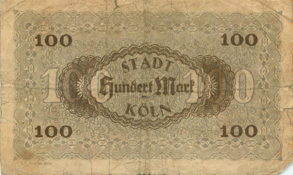 100 марок (Келн) 1922 года (Германия)