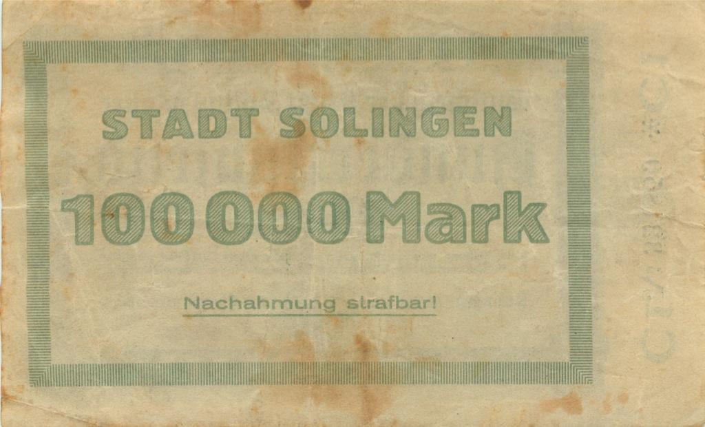 100000 марок (Золинген) 1923 года (Германия)