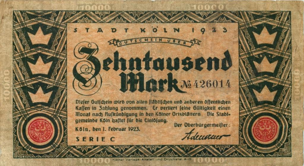 10000 марок (Келн) 1923 года (Германия)