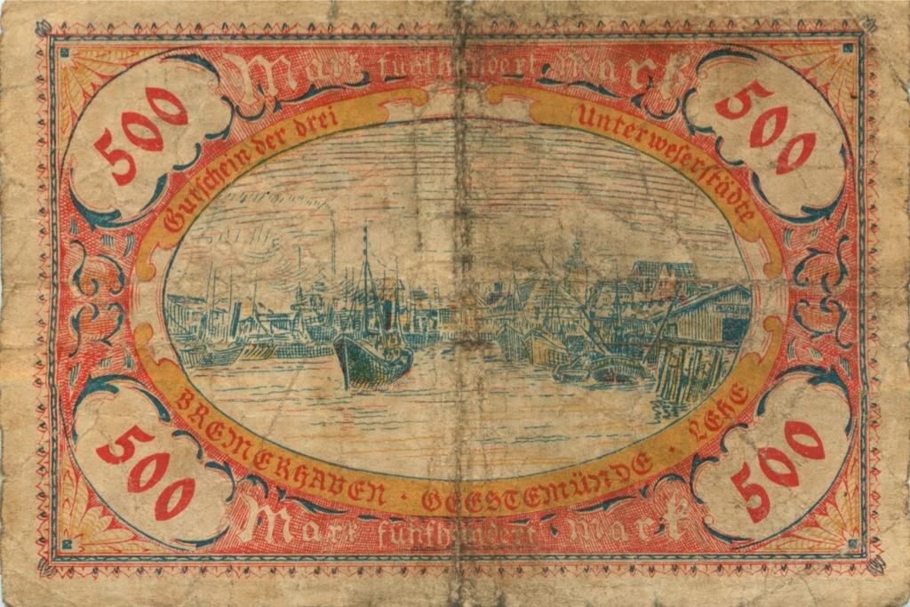 500 марок (Бремерхафен, снадпечаткой 500 тысяч марок) 1923 года (Германия)