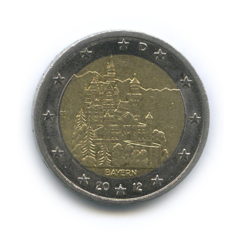 2 евро — Федеральные земли Германии - Замок Нойшванштайн, Бавария 2012 года J (Германия)
