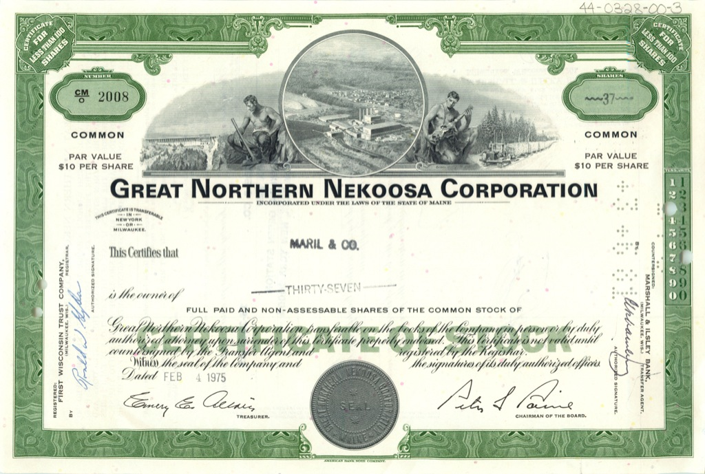 37 акций («Great Northern Nekoosa Corporation») 1975 года (США)