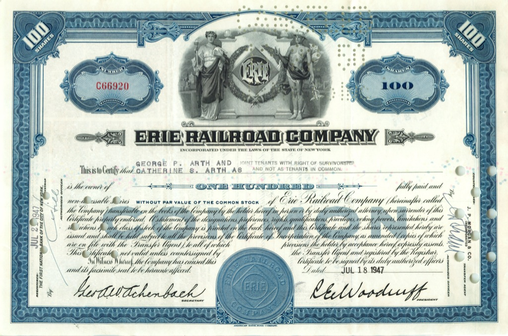 100 акций («Erie Railroad Company») 1947 года (США)