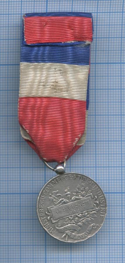 Медаль «Republique Francaise - Ministere Commerce EtDeLindustrie» (вес 12 гр) 1909 года (Франция)