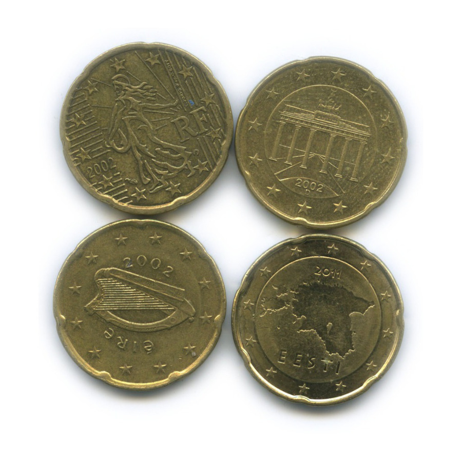 Набор монет 20 центов (разные страны)