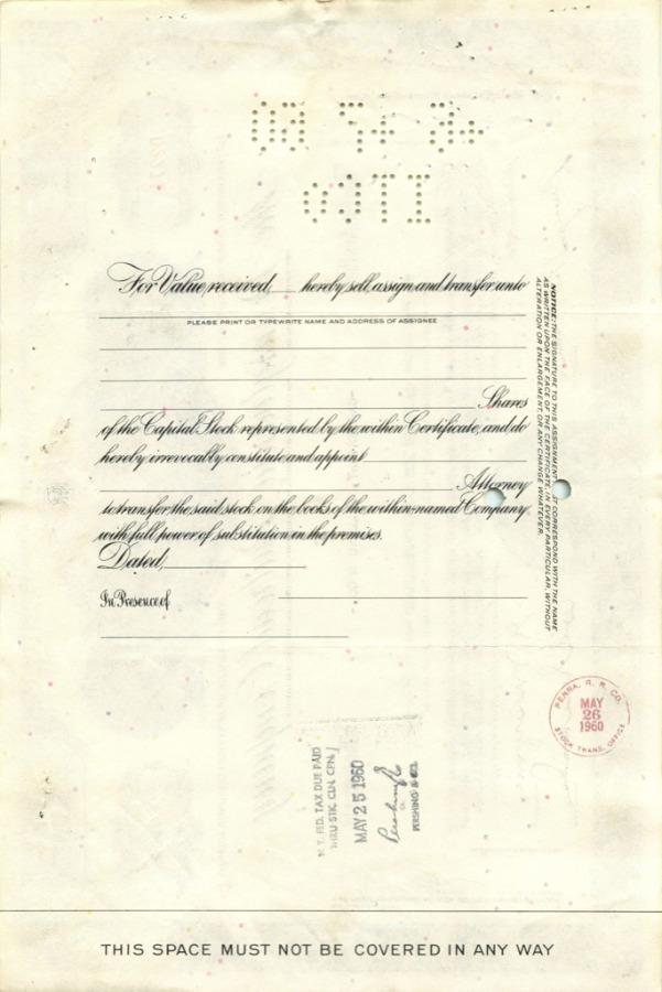 100 акций («The Pennsylvania Railroad Company») 1959 года (США)
