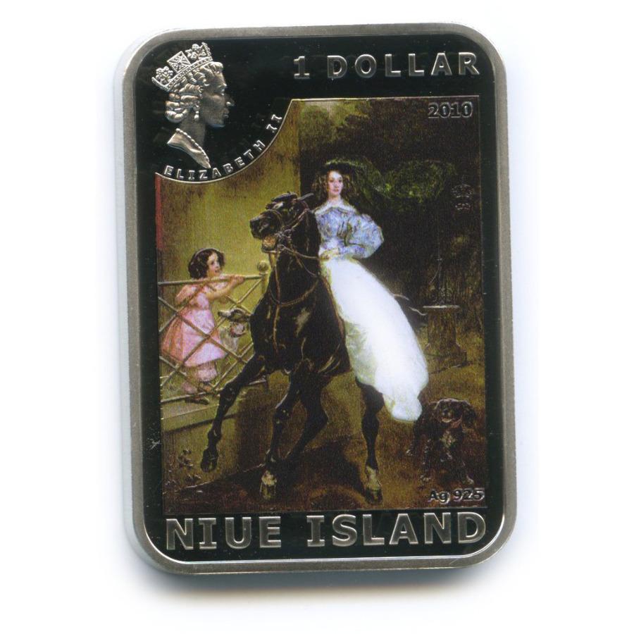 1 доллар - Картины художника Карла Павловича Брюллова, о. Ниуэ (цветная эмаль) 2010 года