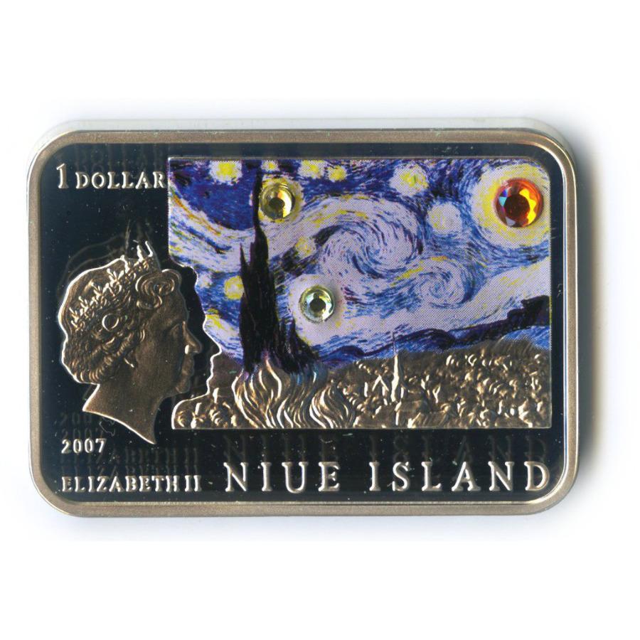 1 доллар - Картины художника Винсента Ван Гога, о. Ниуэ (цветная эмаль) 2007 года