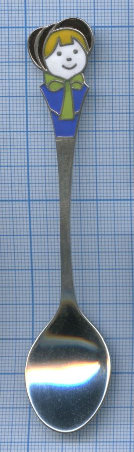 Ложка детская (серебро 925 пробы, эмали, 19,38 гр, 12 см) (Россия)
