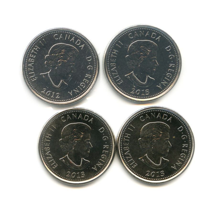 Набор монет 25 центов - Война 1812 года (2 монеты взапайках) 2012, 2013 (Канада)