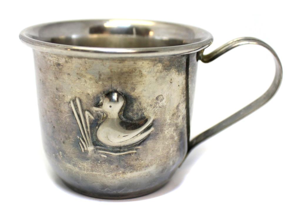 Кружка детская «Утка» (серебрение, 6×7 см) (Великобритания)