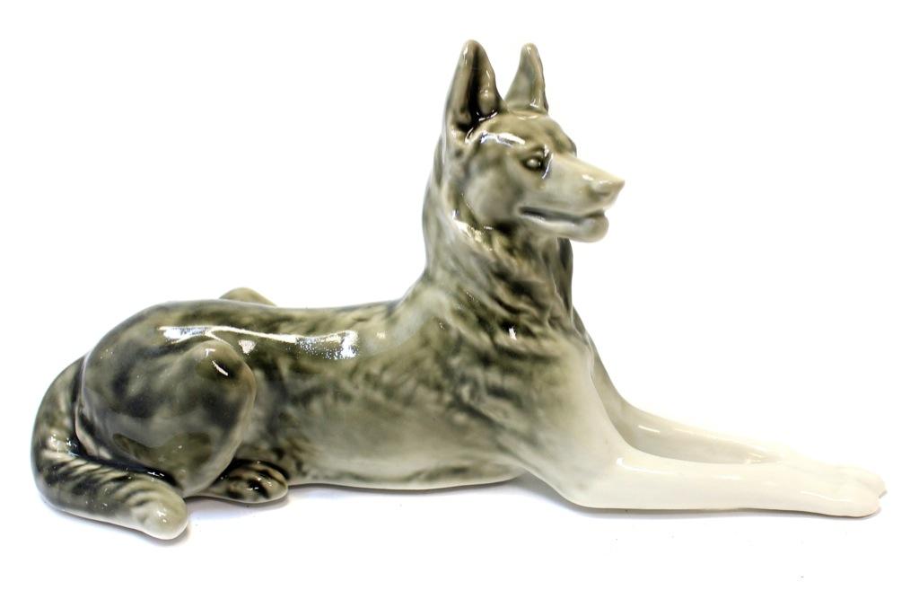 Статуэтка «Овчарка» (фарфор, ЛФЗ, 22×11 см) (СССР)