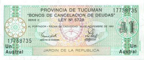 1 аустраль (Тукуман) 1991 года (Аргентина)