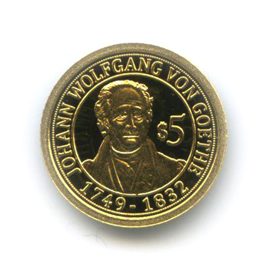 5 долларов - Иоганн Вольфганг фон Гёте, Науру 2010 года