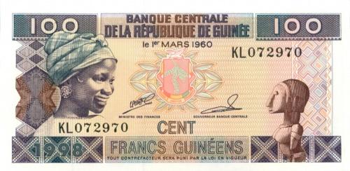 100 франков (Гвинея) 1998 года