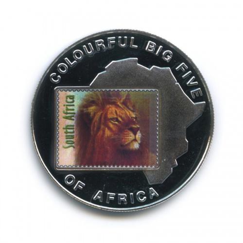 1000 шиллингов - Большая пятерка животных Африки - Лев, Уганда (серебрение, цветная эмаль) 2001 года
