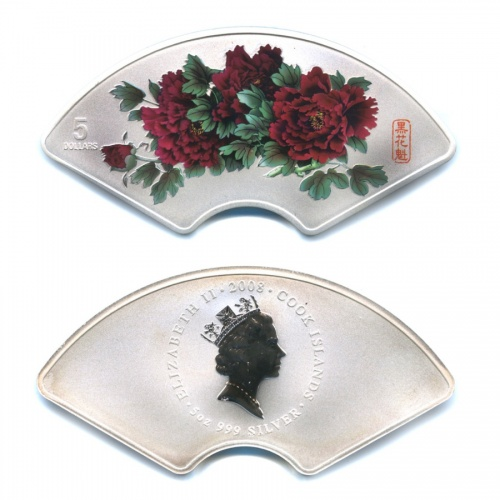 5 долларов - Пионы - цветы небесной красоты, Острова Кука (цветная эмаль, ссертификатом, воригинальном футляре - крепеж крышки поврежден) 2008 года
