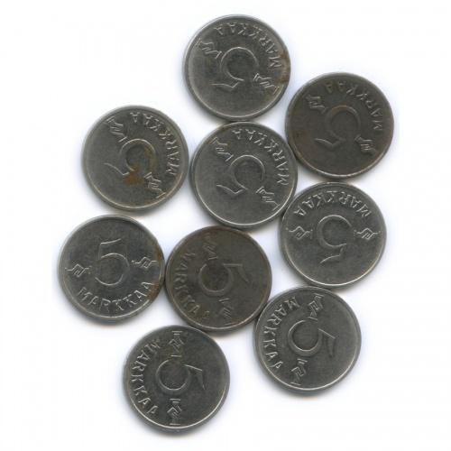 Набор монет 5 марок (разные года) (Финляндия)