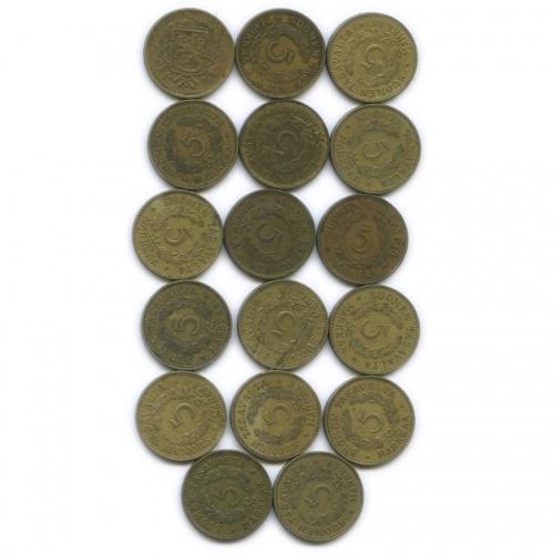 Набор монет 5 марок (разные года), 17 шт (Финляндия)