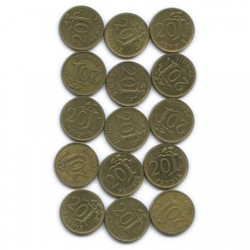 Набор монет 20 пенни (разные года), 15 шт (Финляндия)