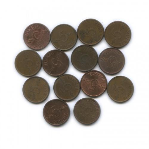 Набор монет 5 пенни 1963-1977 (Финляндия)
