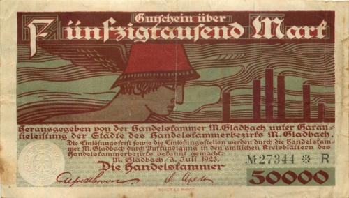 50000 марок (Гладбах, Вестфалия) 1923 года (Германия)