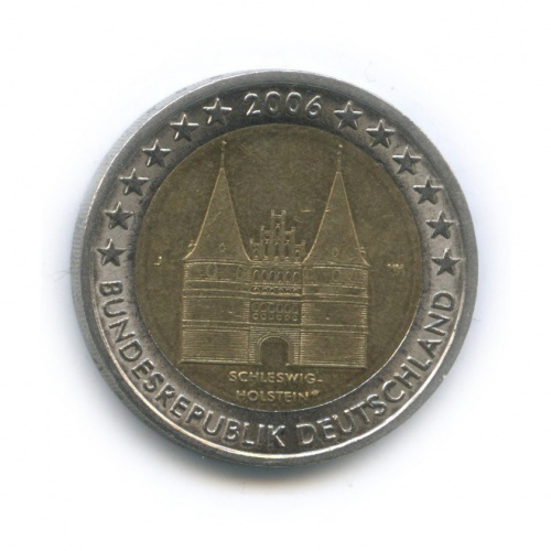 2 евро — Федеральные земли Германии - Голштинские ворота вЛюбеке, Шлезвиг-Гольштейн 2006 года J (Германия)