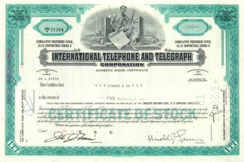 500 акций («International Telephone and Telegraph Corporation») 197(?) (США)
