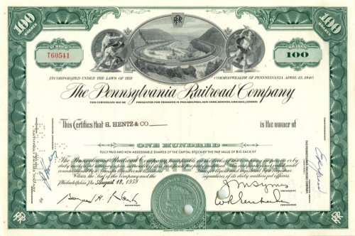 100 акций («The Pennsylvania Railroad Company») 1959 года (США)