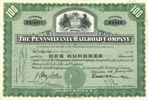100 акций («The Pennsylvania Railroad Company») 1954 года (США)