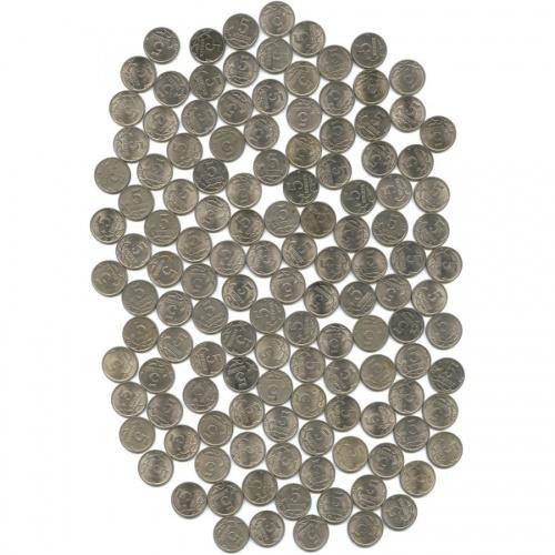 Набор монет 5 копеек (150 шт) 1997-2009 СПМД, ММД (Россия)