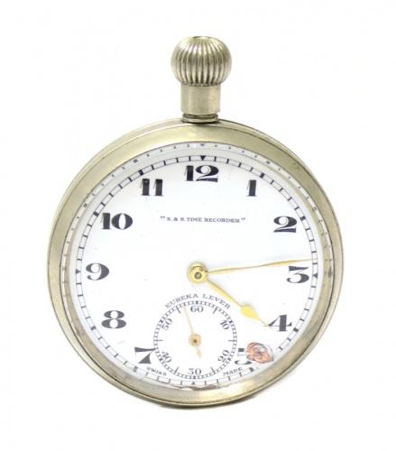 Часы карманные «S&S time recorder» (рабочие, 4,7х4,7 см)