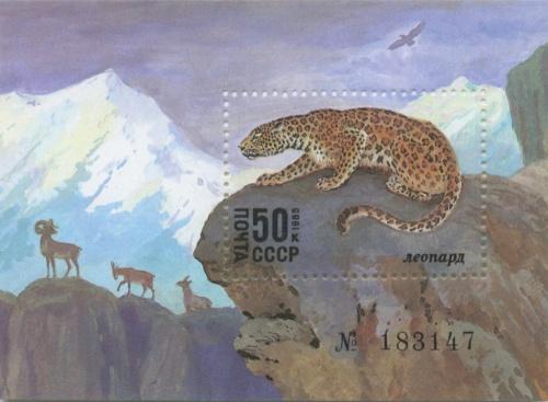 Марка почтовая «Леопард» (номерная) 1985 года (СССР)