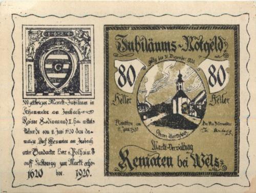 80 геллеров (нотгельд) 1920 года (Австрия)